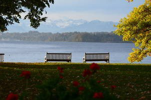 The park outside the Meeting Venue at the shore of the Starnberg Lake (Alps in the background).